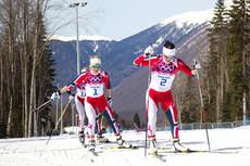 Gullvinner Marit Bjørgen var dravillig på 30 km under OL i Sotsji 2014 og følges her av Therese Johaug og Kristin Størmer Steira. I filmen nedenfor forteller Sindre Wiig Nordby hva som kjennetegner de to førstes stil. Foto: NordicFocus.