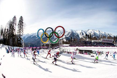 Feltet på herrenes 50 km under OL i Sotsji 2014. Foto: NordicFocus.