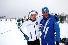 Espen Harald Bjerke, til venstre, sammen med Erling Jevne etter målgang i Hafjell Ski Marathon 2014. De ble i nevnt rekkefølge nummer 1 og 2 i klassiskdelen av rennet. Foto: Geir Olsen.