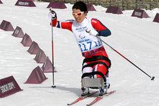 Mariann Vestbøstad Marthinsen på vei mot 4. plass i Paralympics 2014 i Sotsji på øvelsen 12 km sittende. Foto: Anne Ragnhild Kroken.