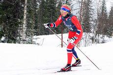 Marte Mæhlum Johansen på vei til NM-gull for yngste juniorklasse i 7,5 kilometer klassisk på Mo i Rana 2014. Foto: Erik Borg.