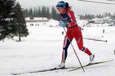 Magni Smedås underveis i løypa der hun ble norgesmester på 15 kilometer klassisk for eldste juniorklasse på Mo i Rana 2014. Foto: Erik Borg.