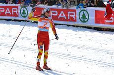 Heidi Weng går inn til gull på lagsprinten, for BUL IL sammen med Martine Ek Hagen, under NM del 2 på Gålå 2014. Arrangørfoto.