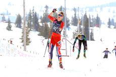 Mattis Stenshagen går inn til seier i norgescupfinalen på Gålå i 2014. Foto: Erik Borg.