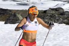 Therese Johaug i en video fra Sognefjellet og Aftenposten.no sommeren 2014. Foto: Mette Bugge.