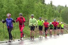 Team ParkettPartner ute på trening med Tore Ruud Hofstad i front. Foto: Skjermplott fra Trond Harald Sand/Vimeo.