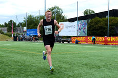 På overbevisende vis tok Joar Thele seg gjennom Nordmarka Skogsmaraton 2014 og vant hele løpet med god margin og på den sterke tiden 2 timer og 37 minutter.  Foto: Arne Martin Torgersen.