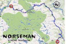 Kart over løypa til Norseman Xtreme Triathlon.
