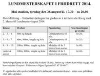 LUNDMESTERSKAPET I FRIIDRETT 2014