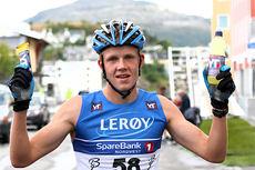 Jan Thomas Jenssen beste løper i juniorenes 10 km lange fellesstart i Kristiansund under Toppidrettsveka 2014. Foto: Geir Nilsen/Langrenn.com.
