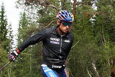 Petter Northug på oppvarmingen før han gikk til topps i Orkdal og Knyken skisenter på skiatlon-øvelsen under Toppidrettsveka 2014. Foto: Geir Nilsen/Langrenn.com.
