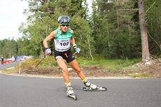 Therese Johaug gikk inn til en solid 2. plass i Orkdal og Knyken skisenter på skiatlon-øvelsen under Toppidrettsveka 2014. Foto: Geir Nilsen/Langrenn.com.