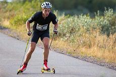 Marcus Hellner på vei mot seier i Dundret Hill Climb 2014. Foto: Yngve Johansson.