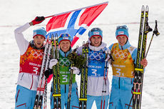 Norges gullhelter i lagkonkurransen i kombinert under Sotsji-OL 2014. Fra venstre: Magnus Moan, Håvard Klemetsen, Jørgen Graabak og Magnus Krog. Foto: NordicFocus.