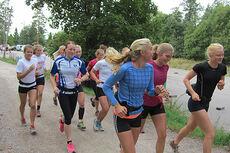 Jentene i Team Kollen hadde god tempo under treningssamlingen i Maridalen i Oslo. Foto: Team Kollen