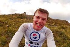 Martin Mikkelsen smiler fornøyd etter å ha vunnet K3 - Kvaløytrippelen 2014. Foto: Skjermdump Vimeo/Pål Jakobsen.