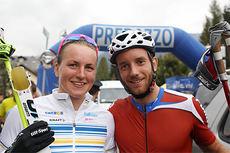 Linn Sömskar og Mattia Pellegrin vant motbakkeløpet under siste runde av verdenscupen på rulleski i Val di Fiemme 2014. Foto: Newspower.it.