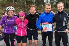 Topp to damer og topp tre herrer på SKIGO-rullen 2014. Fra venstre Maren Thomasgaard (2), Solfrid Braathen (1), Sondre Fossum (2), Øyvind Anmarkrud (1) og Arild Hagesveen (3). Foto: Linda Helland.