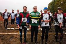 Inger Liv Bjerkreim Nilsen med startnummer 425 er en av nærmere 2.000 løpere som er  klar for regntung langdistanseorientering i Fredrikstads marker under Blodslitet 2014. Mobilfoto: Geir Nilsen/Langrenn.com.