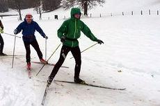 Løpere fra Team Hadeland på treningsøkt inne på skistadion i Ramsau torsdag. Foto: Team Hadeland.