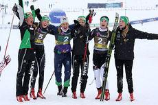 Hemingdamene jubler over 1. og 3. plass i NM-stafetten 2014 på Lillehammer. Foto: Geir Nilsen/Langrenn.com.
