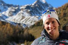 Marit Bjørgen på samling med skilandslaget i Val Senales høsten 2014. Lørdag drar hun tilbake dit. Foto: Birk Eirik Fjeld.
