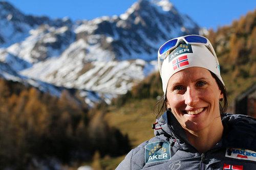 Marit Bjørgen på samling med skilandslaget i Val Senales et tidligere år. Foto: Birk Eirik Fjeld.