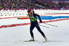 Tiril Eckhoff ute på sin stafettetappe under OL i Sotsji 2014, der de norske jentene tok bronse. Foto: NordicFocus.