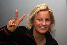 Vibeke Skofterud er fortsatt offensiv da vi møtte henne under Team Santanders pressekonferanse på  Beitostølen foran sesongåpningen 2014, selv om hun denne gangen ikke stiller til start for første gang på nærmere 15 år. Foto: Erik Borg.