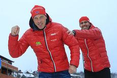 Anders Aukland og Swix-sjef Ulf Bjerknes i forbindelse med Team Santander sin pressekonferanse på Beitostølen 2014. Foto: Erik Borg.