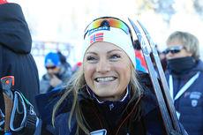 Martine Ek Hagen etter 10 km fri på Beitosprinten 2014, der hun ble nummer fire. Foto: Erik Borg.