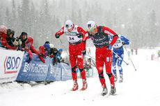 Eldar Rønning, Anders Gløersen og Torjus Børsheim på toppen av danskebakken forrige gang det var klassisk teknikk på Beitosprintens sprintdistanse, i 2012. Foto: Geir Nilsen/Langrenn.com.