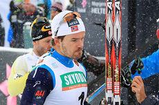 Sondre Turvoll Fossli etter å ha sikret 2. plassen etter Petter Northug i Beitosprintens sprintfinale 2014. Foto: Erik Borg.