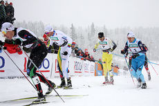 Fra sprintfinalen under Beitosprinten 2014. Fra venstre: Ola Vigen Hattestad, Petter Northug, Johan Kjølstad og Sondre Turvoll Fossli. Foto: Geir Nilsen/Langrenn.com.