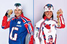 Petter Northug og Marit Bjørgen viser frem sine medaljer fra VM i Val di Fiemme 2013. Foto: Felgenhauer/NordicFocus.