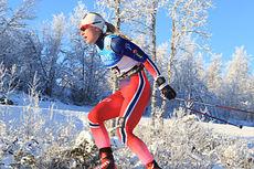 Ragnhild Haga underveis på 10 km fri på Beitostølen 2014. Foto: Erik Borg.