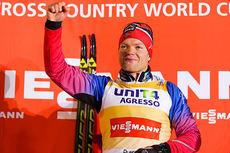 Eirik Brandsdal jubler over seier i verdenscupåpningen i Kuusamo 2014. Foto: Laiho/NordicFocus.