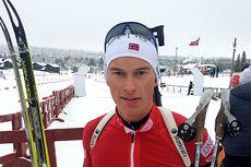 Henrik L-Abee-Lund mister sprinten i Pokljuka fredag. Her under IBU Cup på Beitostølen 2014. Foto: Norges Skiskytterforbund.