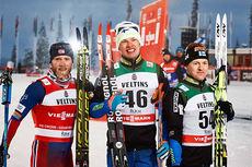 Seierspallen på herrenes 15 km under åpningshelgen av verdenscupen i finske Kuusamo forrige vinter. Fra venstre: Martin Johnsrud Sundby (2. plass), Iivo Niskanen (1) og Sami Jauhojärvi (3). Foto: Felgenhauer/NordicFocus.