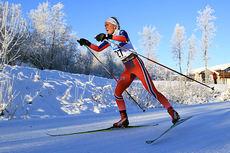 Silje Theodorsen ute på 10 km fri under Beitosprinten 2014, der det ble 14.-plass for jenta fra Kvaløysletta og Team Veidekke Nord-Norge. Foto: Erik Borg.