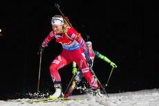 Tiril Eckhoff underveis på normaldistanse under verdenscupen i Östersund 2014, der hun endte på 7.-plass. Foto: Manzoni/NordicFocus.
