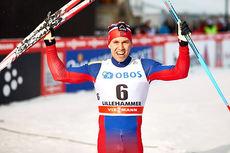 Pål Golberg jubler over seier på sprinten under verdenscup-minitouren på Lillehammer 2014. Han står over lørdagens 15 km i Davos for å gi alt på sprinten søndag. Foto: Felgenhauer/NordicFocus.