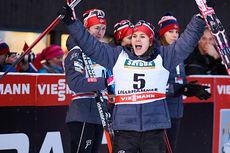 Heidi Weng var i ekstase over tredjeplassen i fredagens sprint under minitouren på Lillehammer 2014. Foto: Felgenhauer/NordicFocus.