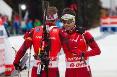 Emil Hegle Svendsen og Ole Einar Bjørndalen var nummer 1 og 2 på jaktstarten i Oberhof i januar 2014. Foto: Manzoni/NordicFocus.