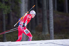 Tarjei Bø ute på 10 km sprint i skiskytternes verdenscup i Östersund 2014. Foto: Manzoni/NordicFocus.