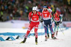 Alexander Os gikk seg opp fra 16.-plass til 8.-plass på jaktstarten i verdenscupen skiskyting i Östersund 2014. Foto: Manzoni/NordicFocus.