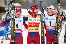 Trioen (f.v.) Sjur Røthe (3), Martin Johnsrud Sundby (1) og Finn Hågen Krogh (2) sørget for helnorsk pall i minitouren på Lillehammer forrige vinter. Foto: Laiho/NordicFocus.