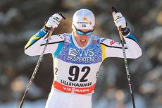 Calle Halfvarsson var beste utelandske utøver blant herrene i minitouren på Lillehammer 2014. Her fra 10-kilometeren der han ble nummer fire. Totalt endte svensken på sjetteplass. Foto: Laiho/NordicFocus.