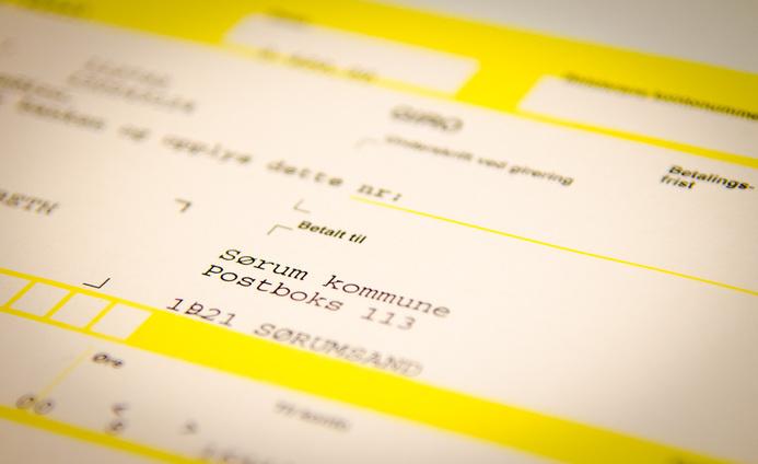 Illustrasjonsfoto gebyrer og innbetalinger faktura fra Sørum kommune