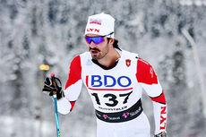 Landslagsløper Hans Christer Holund er blant løperne i Lyn Ski sin store seniorgruppe, selv var han sist helg ute i verdenscupoppdrag, men resten av løperne hadde sin julesamling. Foto: Geir Nilsen/Langrenn.com.